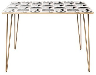 Bungalow Rose Hurwitz Dining Table Table Top Color: Natural, Table Base Color: Brass
