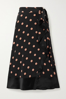 Tory Burch Ruffled Satin-trimmed Polka-dot Silk-crepe Wrap Skirt - Black