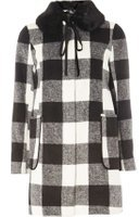 Dorothy Perkins Womens Black Checked Bow Dolly Coat- Black