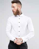 Asos Skinny Shirt With Cutaway Collar And Double Cuff
