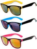OWL Retro Vintage Two -Tone Sunglasses Mirror Lens 3 Pairs -Yellow, Blue, Pink