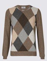 Wool Rich Argyle V-Neck Jumper