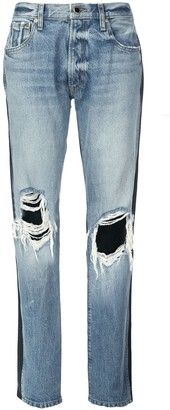 KHAITE Two-Tone Distressed Denim Jeans