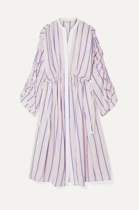 By Malene Birger Genua Oversized Ruched Striped Cotton-blend Midi Dress - Pastel pink