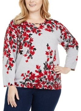 Alfred Dunner Plus Size Well Red Falling Flowers Cotton Sweater