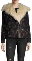Free People Jacquard Faux Fur Trim Jacket