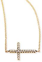 Mizuki Pave Diamond Side Cross Necklace