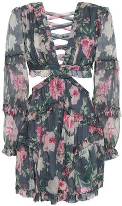 Zimmermann Lace-up Cutout Floral-print Silk-georgette Mini Dress
