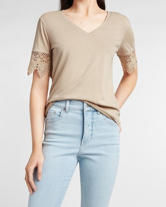 Express Skimming Lace Sleeve V-Neck Tee
