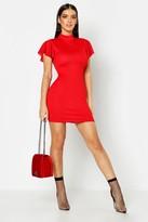 boohoo High Neck Frill Sleeve Bodycon Dress