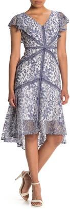 Taylor Flutter Sleeve Stretch Lace Dress