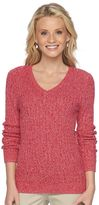 Croft & Barrow Petite Cable Knit V-Neck Sweater