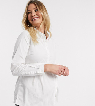 Mama Licious Mamalicious maternity shirt with smock detail in white