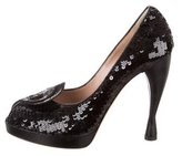 Emporio Armani Sequined Peep-Toe Pumps