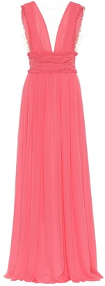 Costarellos Plisse silk-blend chiffon gown