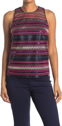 Trina Turk Aracari Sequin Embroidered Tank Top