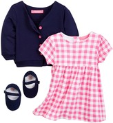 Isaac Mizrahi Oversized Gingham Dress, Cardigan & Shoe Set (Baby Girls 12-24M)