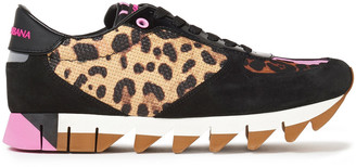 Dolce & Gabbana Patent Leather-trimmed Leopard-print Neoprene, Woven And Suede Sneakers