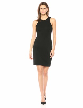 Lark & Ro Women's Sleeveless Racerback Knit Sheath Dress Black Medium