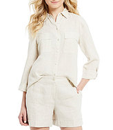 Jones New York Mixed Media Roll Sleeve Linen-Blend Shirt