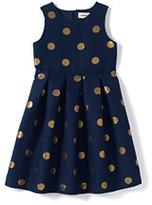 Lands' End Girls Woven Party Dress-Gold Lurex Dot