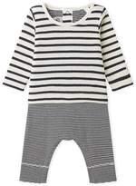 Petit Bateau Babys unisex dual-fabric jumpsuit