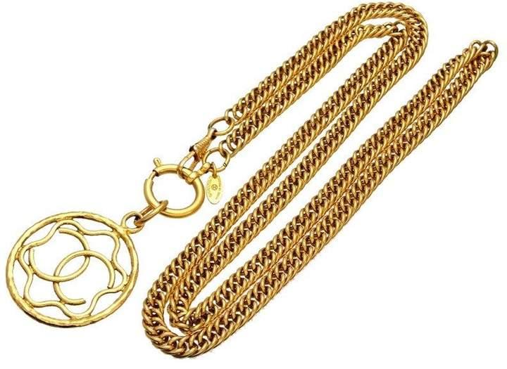 Chanel CC Logo Gold Tone Metal Hoop Necklace