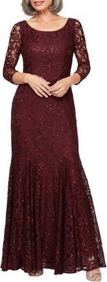 Alex Evenings Lace & Sequin Trumpet Gown