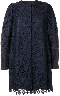 Emporio Armani macramé geometric patterned coat