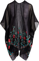 Lvs Collections LVS Collections Women's Kimono Cardigans BLACK - Black Floral Embroidered Cape-Sleeve Kimono - Women
