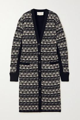 Chloé Wool-blend Tweed Cardigan - Navy