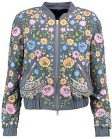 Needle & Thread Embroidered Beaded Crepe Bomber Jacket