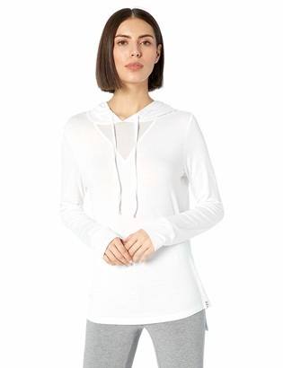 Andrew Marc Women's Long Sleeve Hooded tee with mesh Triangle Inset