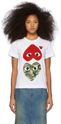 Comme des Garcons White and Red Camo Hearts T-Shirt