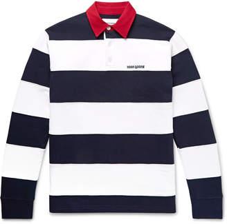 Noon Goons Fielders Twill-Trimmed Striped Fleece-Back Cotton-Jersey Rugby Shirt