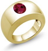 Gem Stone King 2.00 Ct Oval VS Created Ruby 14K Yellow Gold Men's Solitaire Ring
