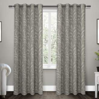 Mid-Century MODERN Exclusive Home Kilberry Woven Blackout Grommet Top Window Curtain Panel Pair Exclusive Home