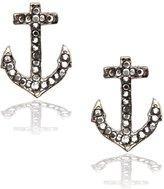 Fresh Gunmetal Crystal Anchor Post Earrings