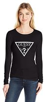 GUESS Women's Long Sleeve Fine Lines Triangle Logo Tee