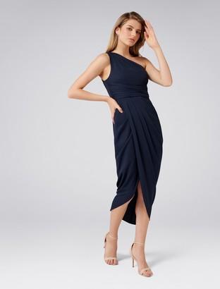 Forever New Mandy Petite One-Shoulder Drape Maxi Dress - Navy - 4