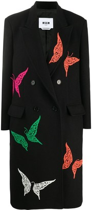 MSGM Lace Butterfly Double-Breasted Coat