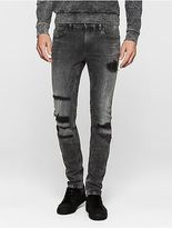 Calvin Klein Mens Super Skinny Patched Jeans