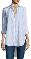 Frank And Eileen Grayson High-Low Button-Down Shirt, Blue/White Stripe