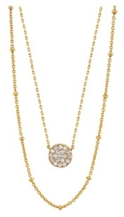 Unwritten Gold Flash Plated Cubic Zirconia Disk Layered Pendant Necklace with Beaded Secondary Chain