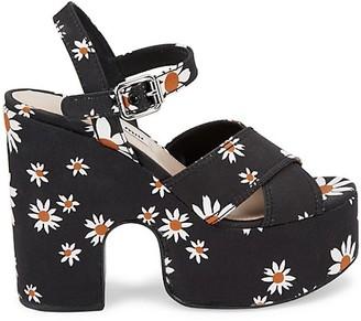 Miu Miu Floral Platform Sandals