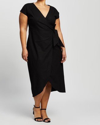 Atmos & Here Jola Linen-Blend Midi Dress
