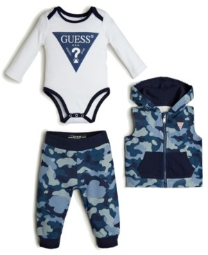 GUESS Boys 3 Piece Vest, Bodysuit, & Jogger Set