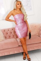 Pink Boutique On Wednesdays Pink Sequin Bandeau Mini Dress
