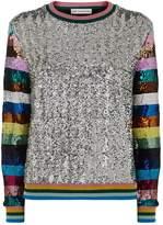 Mary Katrantzou Magpie Sequin Sweater, Silver, L