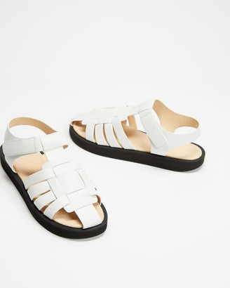 AERE - Women's White All thongs - Caged Fisherman Leather Sandals - Size 5 at The Iconic